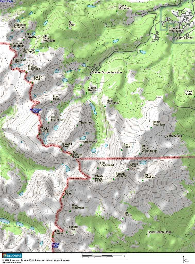 Topographic Map Rocky Mountains.Climbing Older Topo Maps
